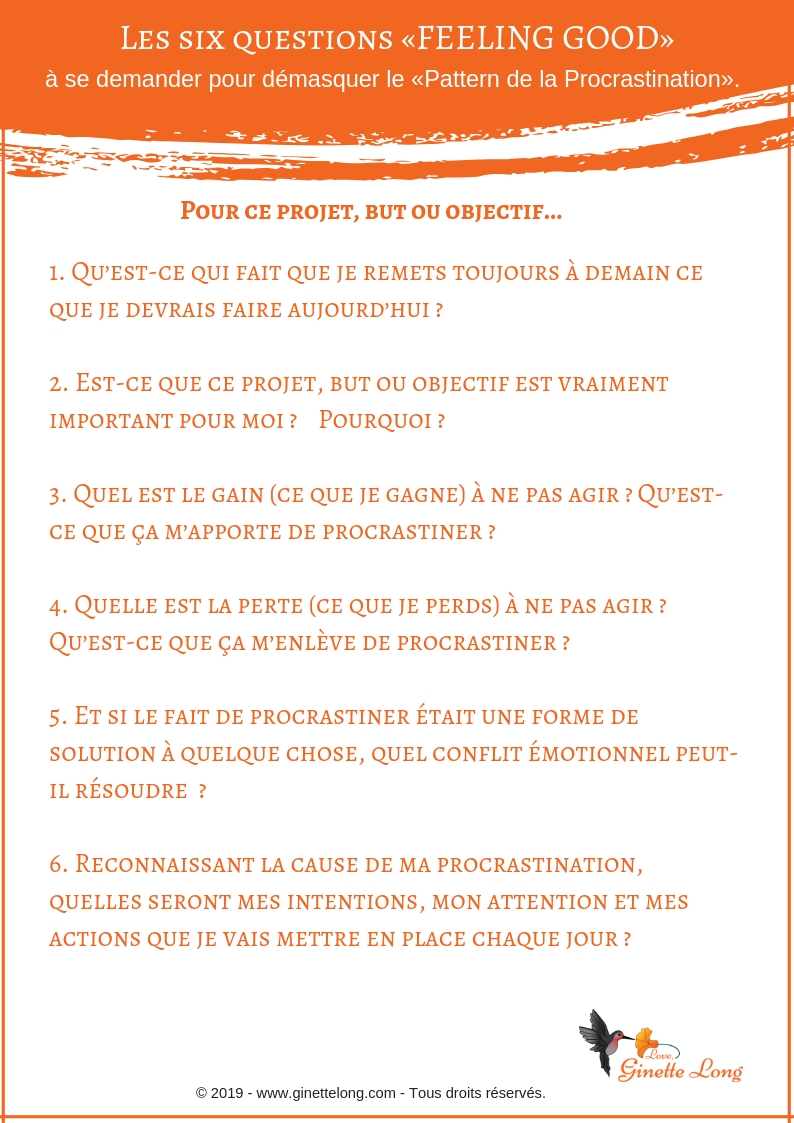 Les six questions procrastination B