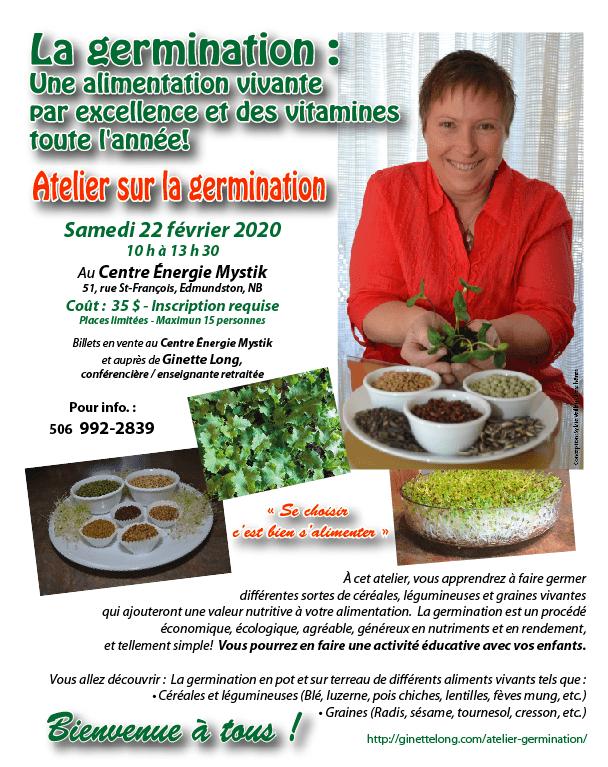 Affiche atelier germination 22 février 2020